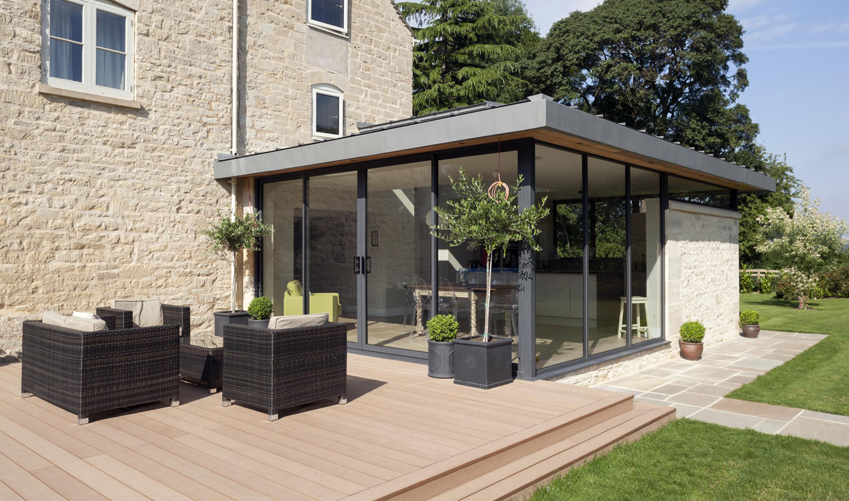 dark grey aluminium windows and doors on a modern home