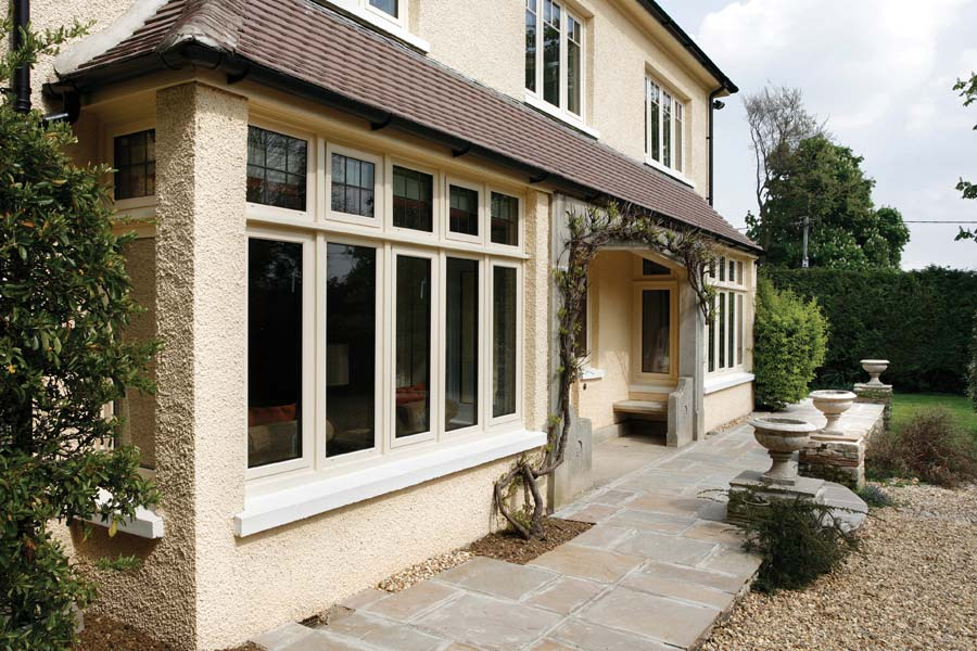application shot of domestic cream aluminium windows
