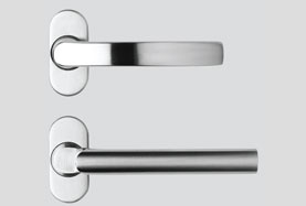 image showing flat round handles available on aluminium doors
