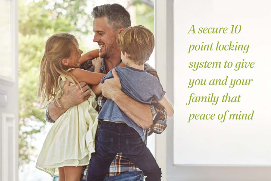 image of a man and his children hugging and laughing with description about keeping your home secure