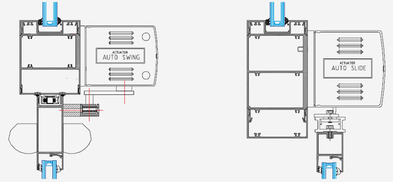 technical frame specification image for auto swing auto slide doors