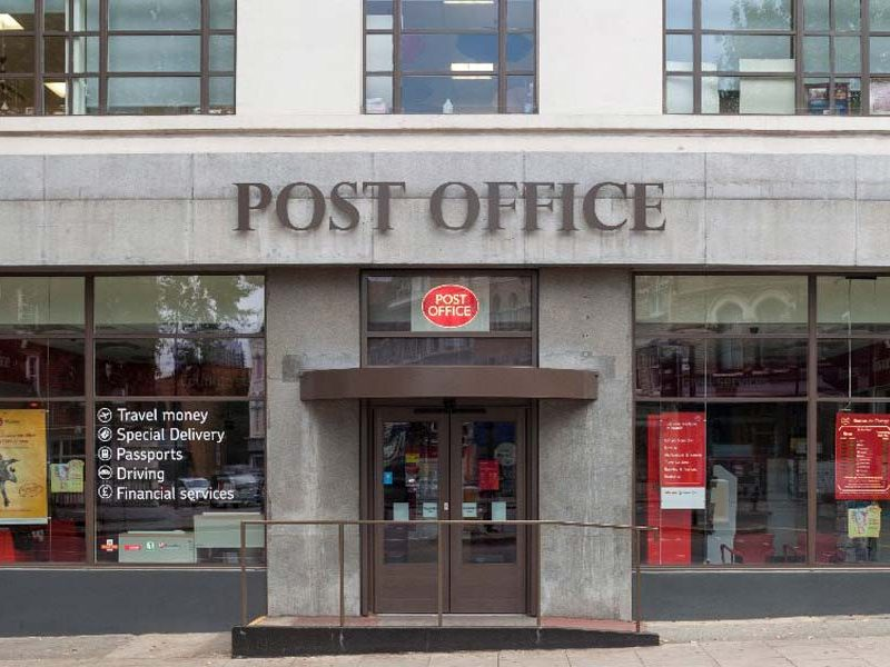 application shot of a commercial smart wall on a post office building