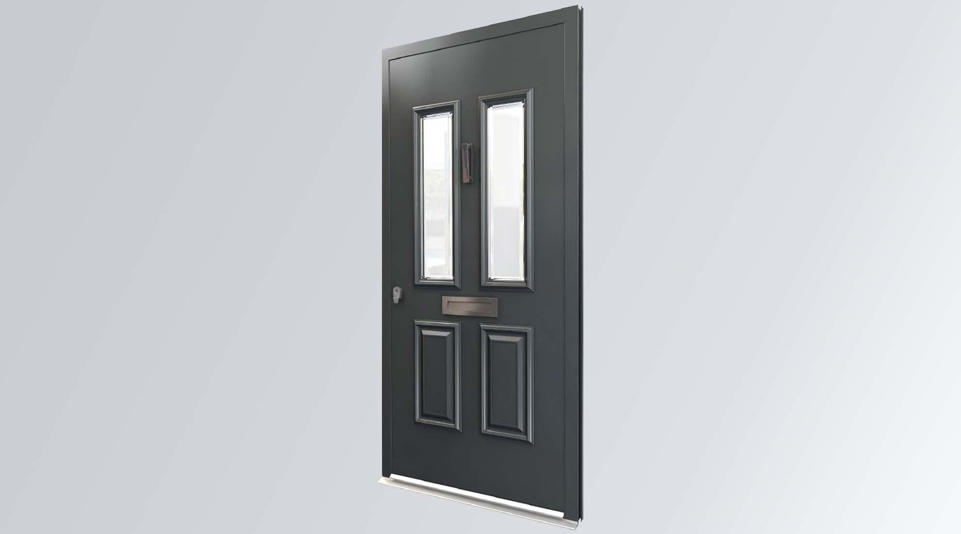 dark grey traditional front door on a grey gradient background