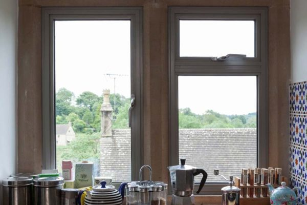 light grey aluminium heritage windows in a kitchen