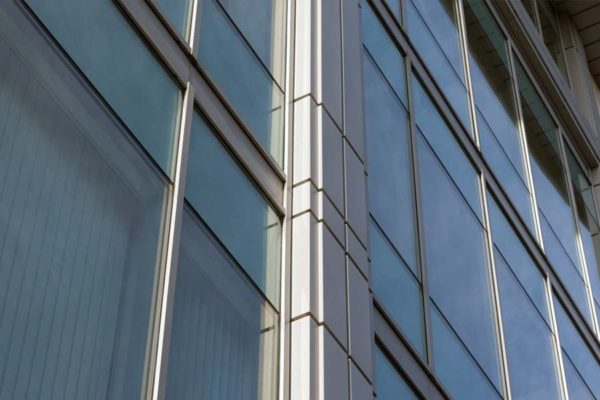 close up of mc 600 curtain wall on a large commercial building