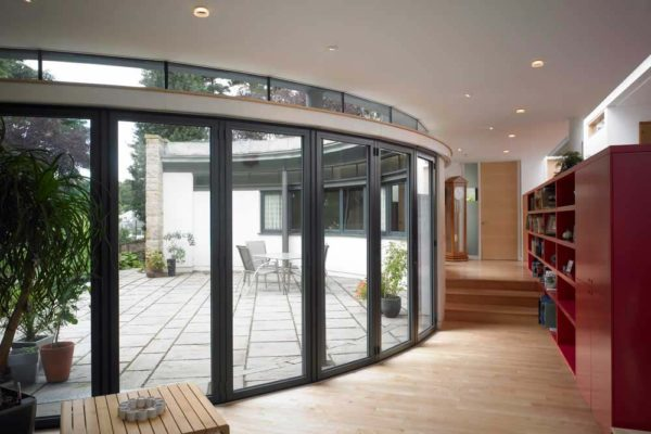 Closed SF55 Bi-folding Sunflex Doors take from interior room