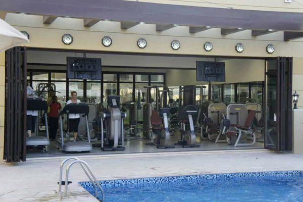SF50 Sunflex Bifolding Door Open in a gym