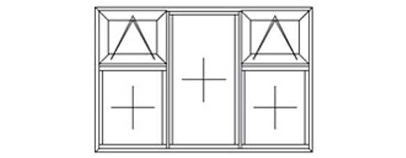 3 fixed 2 top hung diagram