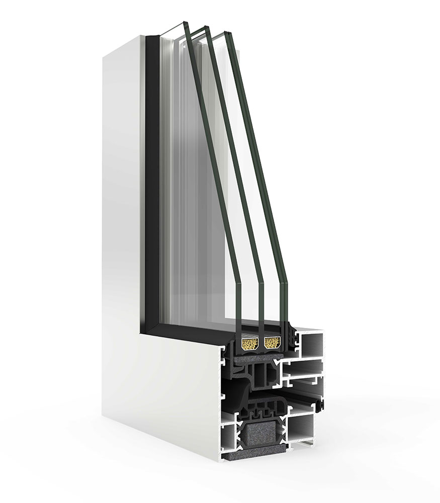 profile cutout showing the internal configuration of the cor 70 aluminium window