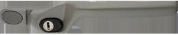 crank handle dark metallic silver cutout