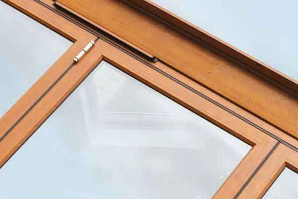 Close up of wood effect available on the OW-80 Aluminium Casement window